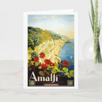 """Amalfi"" Vintage Travel Poster Greeting Card"
