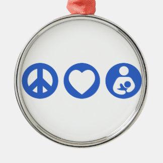 Amamantamiento del amor de la paz adorno navideño redondo de metal
