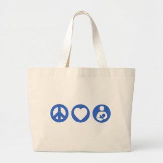 Amamantamiento del amor de la paz bolsa tela grande
