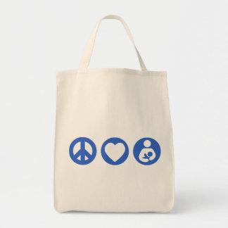 Amamantamiento del amor de la paz bolsas lienzo