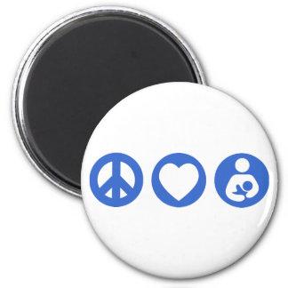 Amamantamiento del amor de la paz imán redondo 5 cm
