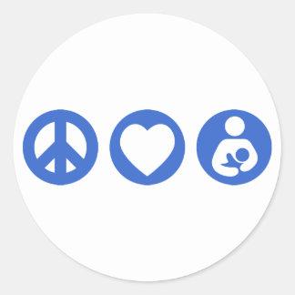 Amamantamiento del amor de la paz pegatina redonda
