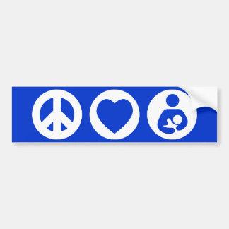 Amamantamiento del amor de la paz pegatina para auto