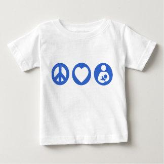 Amamantamiento del amor de la paz playera de bebé