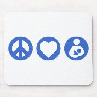 Amamantamiento del amor de la paz tapetes de raton
