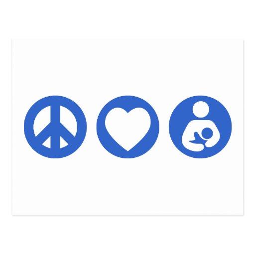 Amamantamiento del amor de la paz tarjeta postal