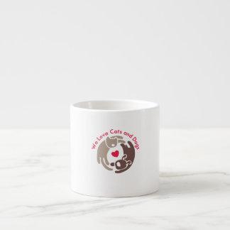amamos gatos y perros taza espresso