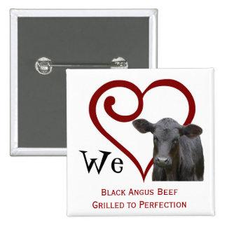 Amamos la carne de vaca negra de Angus Pins