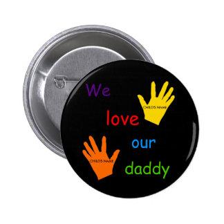 Amamos nuestro botón del papá (2 niños) pins
