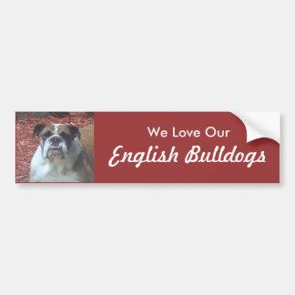 Amamos nuestros dogos ingleses etiqueta de parachoque