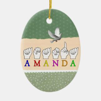 AMANDA  FINGERSPELLED ASL SIGN NAME FE MALE ORNAMENT
