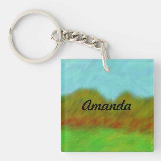Amanda_Grassy Hills Digital Painting Single-Sided Square Acrylic Keychain