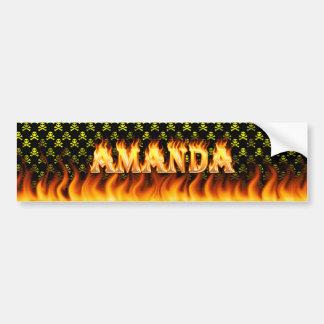 Amanda real fire and flames bumper sticker design car bumper sticker