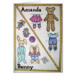 Amanda y conejito toda la tarjeta de la ocasión