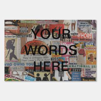 Amanda's magazine & cardboard picture collage #17 sign