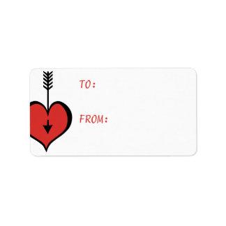 Amándole etiqueta roja del regalo del corazón etiquetas de dirección