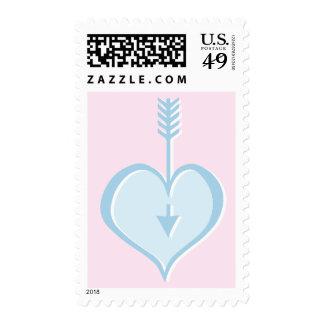 Amándole sello azul del corazón