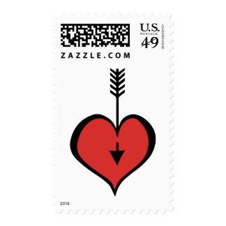Amándole sello rojo del corazón