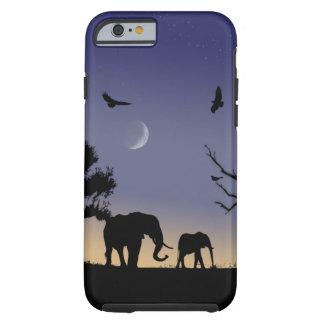 Amanecer africano - elefantes funda para iPhone 6 tough