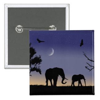 Amanecer africano - elefantes pin cuadrado
