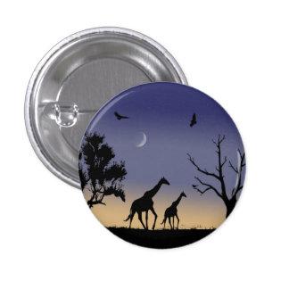 Amanecer africano - jirafas pin redondo de 1 pulgada