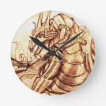 Amanecer de los dragones reloj de pared