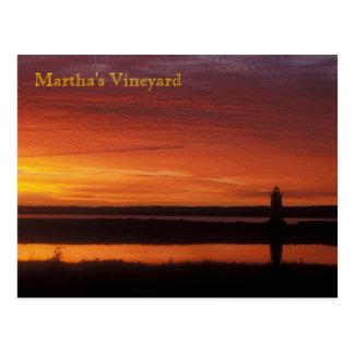 Amanecer del faro de Edgartown del Martha's Tarjeta Postal