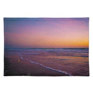 Amanecer en arte moderno de la costa atlántica de  manteles individuales
