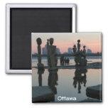 Amanecer en el río de Ottawa Imán Cuadrado