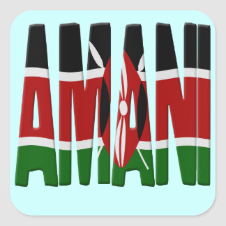 Amani - Peace - Kenya flag Square Sticker
