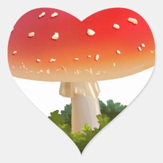 Amanita Red Mushroom Art White Dots Heart Sticker