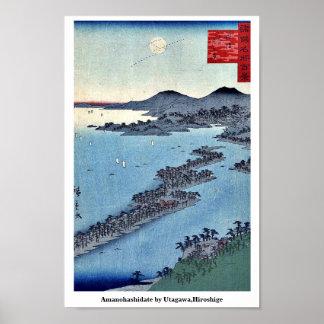 Amanohashidate por Utagawa, Hiroshige Póster