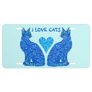 Amante abstracto azul del gato de los gatos del placa de matrícula