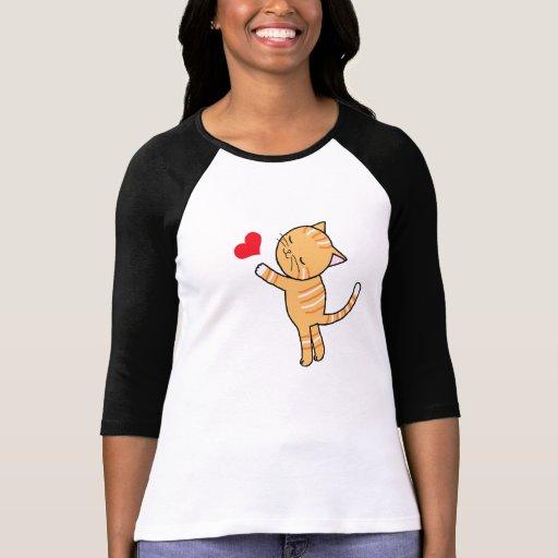 Amante anaranjado lindo del gato de la camiseta playera