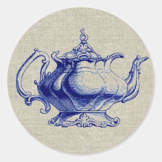 Amante azul del té del diseño de la tetera del pegatina redonda