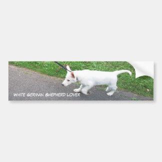 Amante blanco del pastor alemán pegatina de parachoque