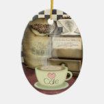 Amante Café del café Adorno Navideño Ovalado De Cerámica