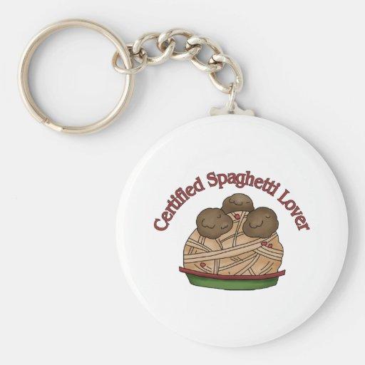 Amante certificado de los espaguetis llavero redondo tipo pin