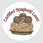 Amante certificado de los espaguetis etiquetas redondas
