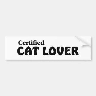 Amante certificado del gato pegatina para auto