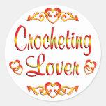 Amante Crocheting Etiquetas Redondas