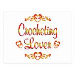 Amante Crocheting Tarjeta Postal