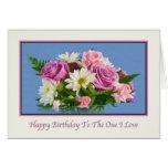 Amante, cumpleaños, floral, rosas tarjeta