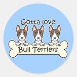 Amante de bull terrier etiquetas redondas