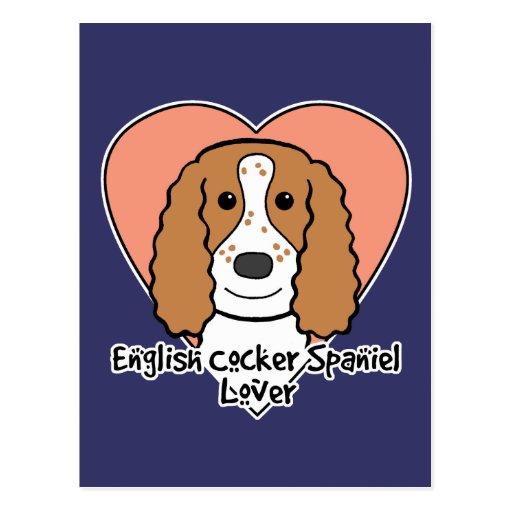 Amante de cocker spaniel del inglés tarjetas postales