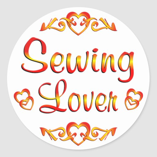 Amante de costura etiqueta redonda