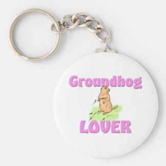 Amante de Groundhog Llavero Redondo Tipo Pin