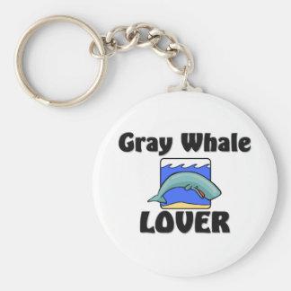 Amante de la ballena gris llavero redondo tipo pin