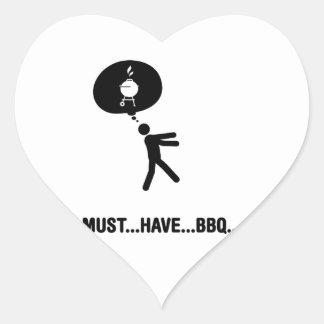Amante de la barbacoa pegatina en forma de corazón