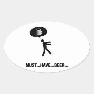 Amante de la cerveza colcomanias óval personalizadas